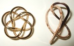Gold Plated Tubular Torus (3,5) Knot and Mobius Figure 8 Knot