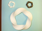 Plastic and Gold-Plated Brass Mobius (3.5) Torus Knots